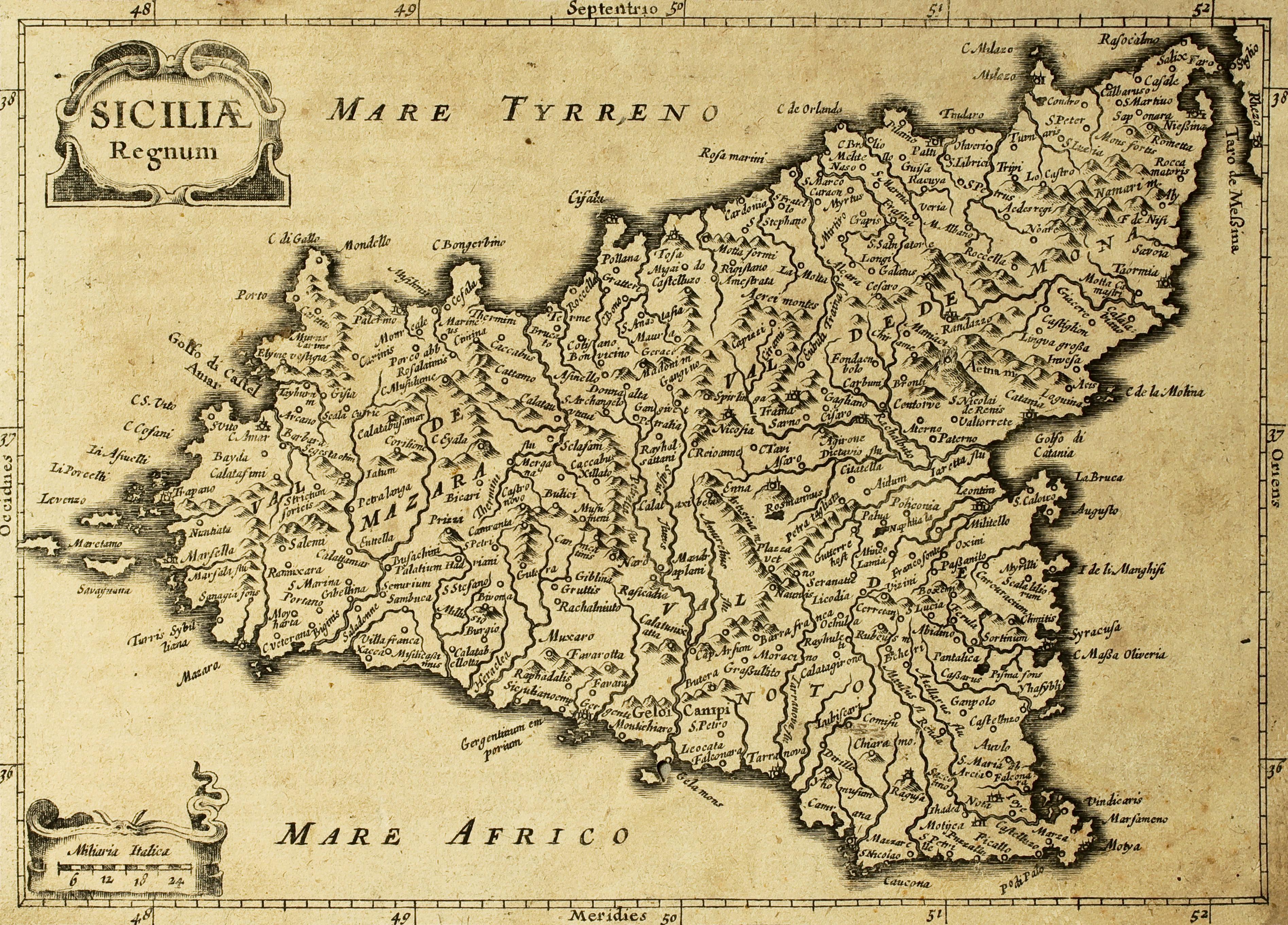 Oude kaart van Sicilië
